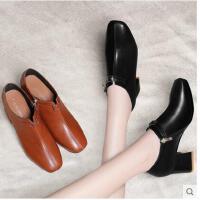 古奇天伦新款韩版百搭英伦小皮鞋粗跟单鞋秋冬季黑色高跟鞋复古鞋子女CFR8861