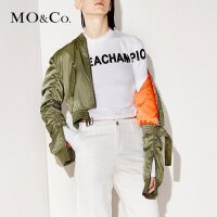 MOCO冬季纯色立领修身短款轻薄棉服外套女MA171JKT109 摩安珂