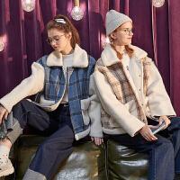 【2.5折价159.9元】唐狮冬季新款仿毛呢外套女短款仿羊羔绒拼接上衣学生格子外套