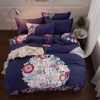 家纺大版花纯棉磨毛四件套冬季加厚保暖全棉床上用品1.8m床单床笠