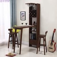 美式橡木吧台桌家用小客厅实木玄关隔断柜酒柜简约现代靠墙北欧 组装