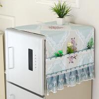 单开门对双开门冰箱罩盖布巾布艺冰箱套尘罩盖巾洗衣机盖布T 桔红色 荔雅蓝
