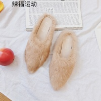 平底拖鞋女秋冬季新款显瘦韩版室外穿包头尖头半拖毛毛鞋单鞋