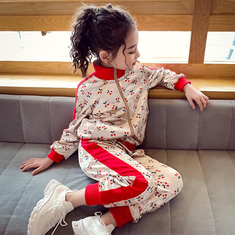 女童运动套装春秋儿童金丝绒套装洋气中大童卫衣小女孩春装两件套