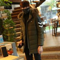 新款韩版修身中长款加厚男士羽绒服青年学生潮流冬季男装外套 【6806】军绿色 M
