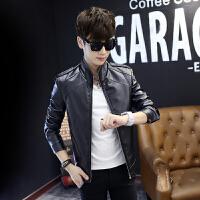 新款秋装PU夹克修身皮夹克男士外套韩版青年秋季皮衣男装潮流外衣