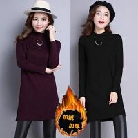 秋冬款加绒半高领毛衣女装加厚保暖上衣中长款套头长袖针织打底衫 黑色 不加绒