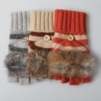 新品时尚羊毛手套女士保暖可爱针织半指手套兔毛露指毛线手套女 可礼品卡支付