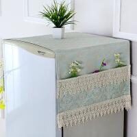 布艺对开门冰箱套盖布滚筒式洗衣机盖巾帘单双开门尘罩现代简约T 双开门冰箱巾 通用