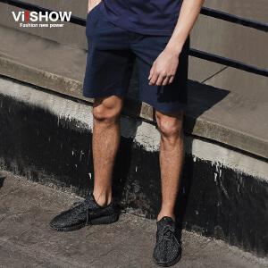 viishow夏装新款短裤 欧美时尚简约休闲短裤男 深色五分裤潮