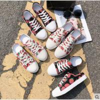 半拖菠萝草莓帆布鞋女学生韩版夏懒人一脚蹬浅口小白鞋女百搭潮款