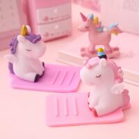 粉色少女心桌面可调节手机支架创意独角兽懒人直播iPad平板支架