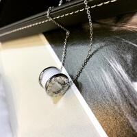 欧美时尚钛钢玫瑰金陶瓷圆柱弹簧项链 女 锁骨链 毛衣链 韩版礼物