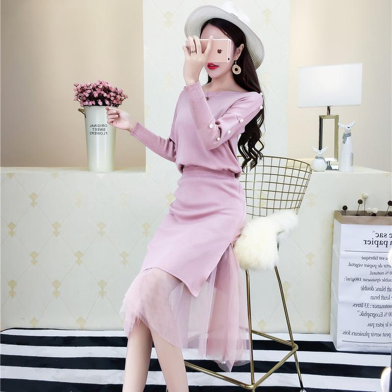 2018新款女装春装 时髦套装韩版圆领钉珠时尚针织上衣+针织包臀裙 发货周期:一般在付款后2-90天左右发货,具体发货时间请以与客服协商的时间为准