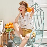 情侣睡衣夏韩版短裤男士纯棉两件套家居服套装甜美可爱印花 -1339女款
