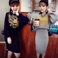 秋裙2017新款韩版百搭套装网红毛衣 秋冬款针织包臀半身裙两件套