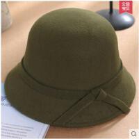 韩版圆顶呢子礼帽女蝴蝶结盆帽优雅毛呢帽子英伦复古帽子  可礼品卡支付