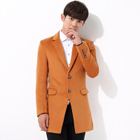 毛呢大衣男士中长款青年学生英伦韩版呢子修身冬季加厚风衣外套潮