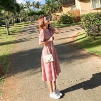 初恋 复古格子连衣裙女短袖2018夏装韩版中长款收腰棉麻A字裙学生