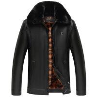 加绒加厚大毛领皮衣男冬装中年爸爸装外套中老年冬季新款夹克