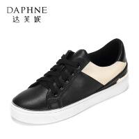 Daphne/�_芙妮 春款休�e舒�m平底小白鞋 潮流拼色�A�^系��涡�-