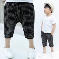 中大童童�b男童休�e七分�短��和�夏季格子短�薄款�子