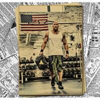 健美健身房肌肉励志复古海报牛皮纸施瓦辛格宿舍寝室装饰墙贴画 . 51X36厘米