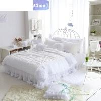 韩国公主 全棉精致立体花 纯白唯美欧式 蓬蓬裙摆蕾丝床罩 四件套家纺定制 白色
