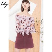 【25折到手价:109元】 Lily春新款女装一字领荷叶边套头衫印花雪纺衫118110C8623