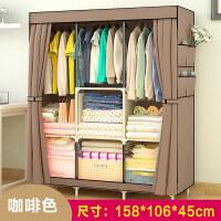 简易加厚大衣柜现代简约折叠钢管组装储物收纳柜子经济型布艺衣橱T