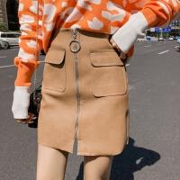 套装女秋冬2018新款时尚气质宽松慵懒V领针织衫+PU皮短裙两件套潮