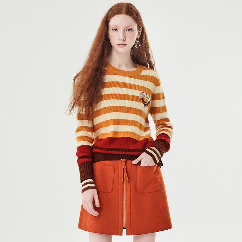 红袖/HOPESHOW彩条钉珠绣花圆领套头针织衫
