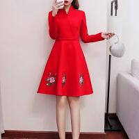敬酒服新娘秋冬新款结婚孕妇回门服红色连衣裙订婚宴会小礼服 红色