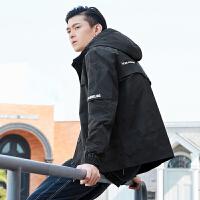 潮牌GLEMALL【防风抗皱】2020年春装新品简约低调迷彩街头休闲宽松连帽工装运动男士外套