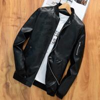秋冬装薄款韩版皮衣男立领短款青年男装修身皮夹克机车皮外套
