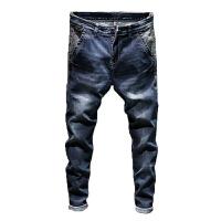 2017夏季斜插袋牛仔裤男士青年修身弹力韩版潮流小脚裤子蓝色薄款 606蓝色