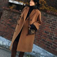 呢子大衣女学生中长款2017韩版秋冬装新款宽松加厚茧型毛呢外套潮