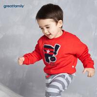 歌瑞家婴儿字母卫衣红色2017冬装新款男小童上衣宝宝套头卫衣乐友