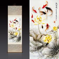 现代中式装饰画荷花九鱼图客厅办公室挂画风水画丝绸画卷轴