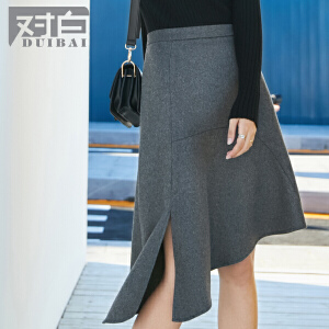 对白新款不规则裙摆羊毛呢半身裙时尚通勤简约中裙子