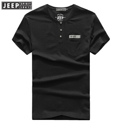 JEEP吉普短袖T恤男夏装薄款圆领纯色休闲打底体恤衫男装t恤