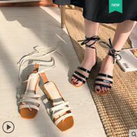 抖音同款凉鞋女鞋高跟鞋粗跟绑带新款韩版时尚一字露趾方头罗马鞋