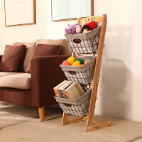 实木置物架落地布艺玩具收纳架零食架家用杂志书报架杂物储物架子