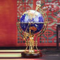 地球仪摆件 送客户商务礼品实用客厅书房办公室摆件 装饰品工艺品 蓝色 灯光 摇控地球仪