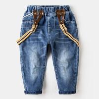 儿童背带裤5宝宝长裤2小童吊带裤春秋3岁童装裤子4男童牛仔裤春装