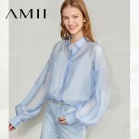 Amii极简复古宫廷风衬衫女2020春季新宽松单排扣灯笼袖不对称上衣