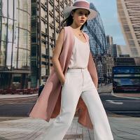Amii极简通勤知性气质V领小开叉长款马夹女2021夏季新款无袖上衣