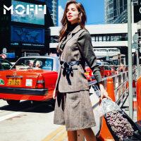 MOFFI 新款时尚简约冬装两件套2017潮端庄大气气质女装套装 绿色