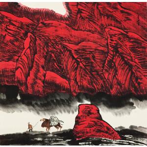 周尊圣《天山红》著名画家