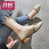 ZHR单鞋女中跟简约休闲女鞋方头浅口奶奶鞋2018秋季新款
